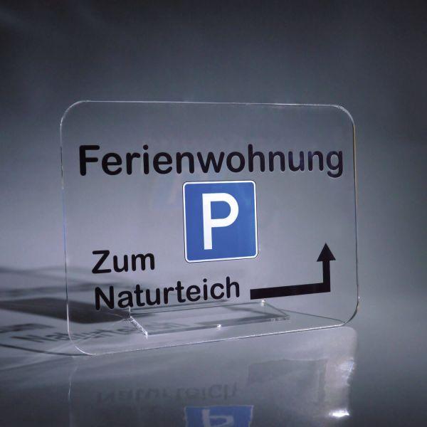 Parkplatz Schild Acrylglas klar
