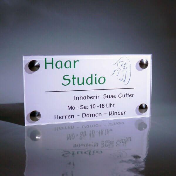 Firmenschild Dibond weiß 30x20 Haar Studio