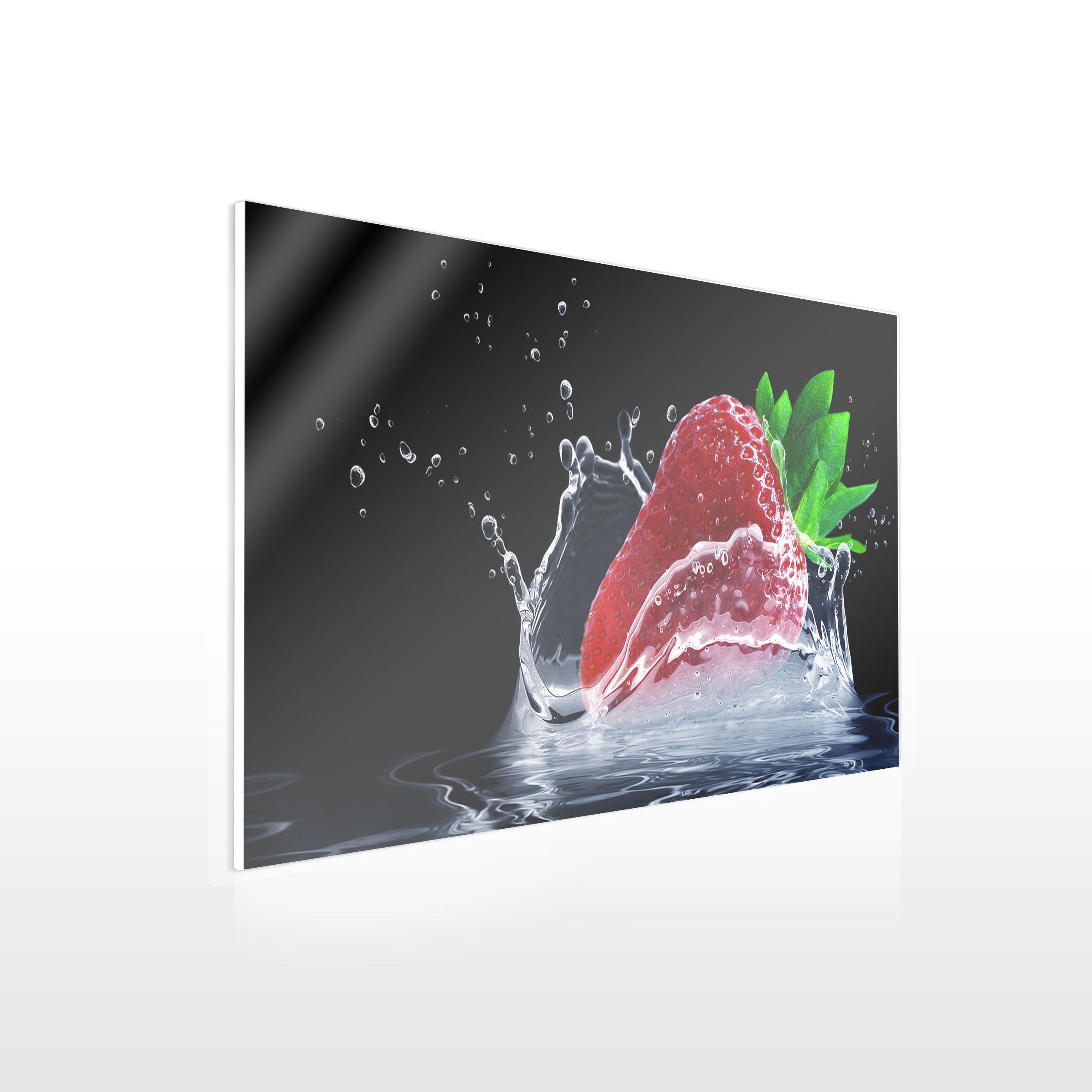 Werbeschilder24.de - Küchenbild auf Acrylglas - Beispiel Erdbeere